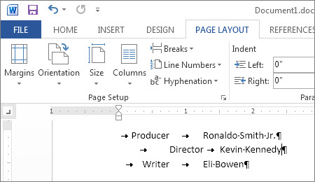 Text showing default tabs