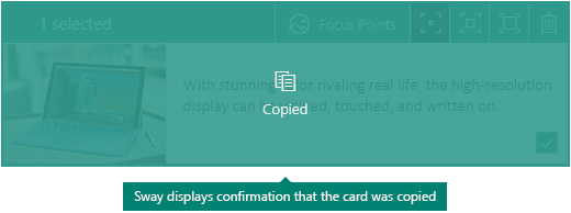 Confirmation for a copied card in Sway
