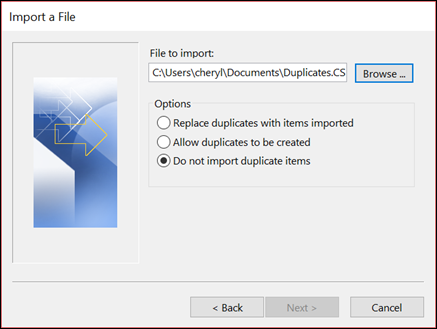 Select the file to import.