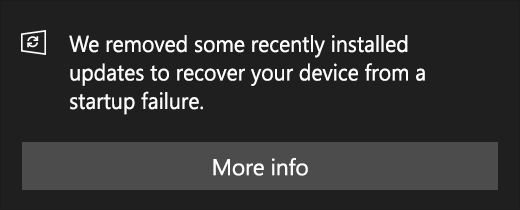 Update message: We removed some recently installed updates to recover your device from a startup failure.