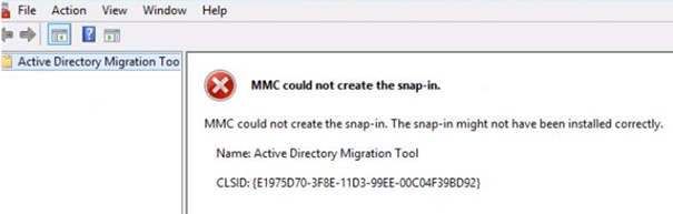 MMC could not create the snap-in. The snap-in might not have been installed correctly. Name: Active Directory Migration Tool.