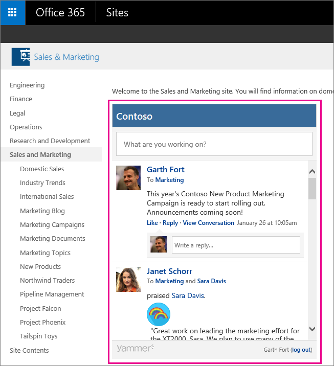 A Yammer Group feed embedded in a SharePoint page