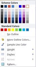 WordArt shape outline formatting options in Publisher 2010