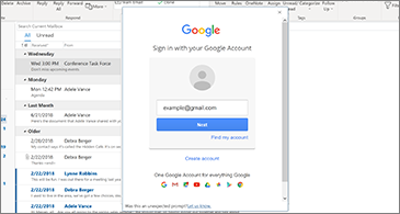Inbox in the background and Google Sign In dialog box in the foreground