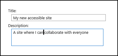 SharePoint Online new site title dialog box