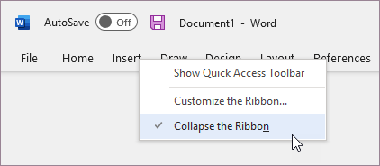 Expand the ribbon
