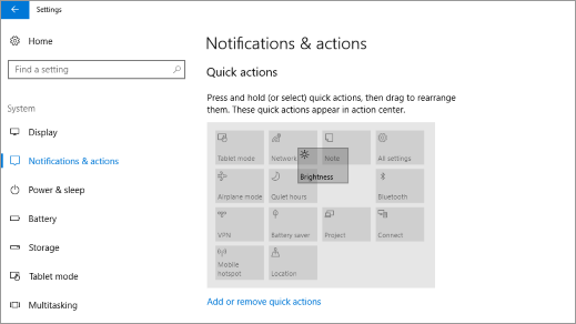 Quick action settings