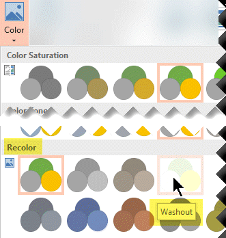 On the Picture Tools Format tab of the toolbar ribbon, select Color. Under Recolor, select Washout.
