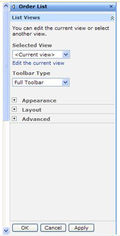 The tool pane for the List Web Part