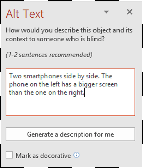 Alt text pane in PowerPoint for Windows