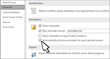 Advanced tab in the Options dialog box, with Reminders section displayed