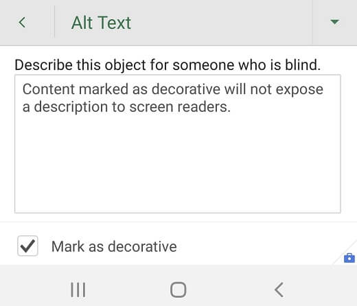 Alt Text dialog box for a decorative graphic in Excel for Android