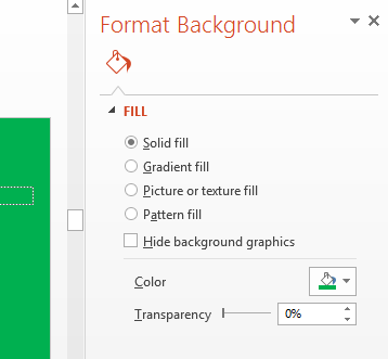 Specify the color of the background in the Color list in the Format Background pane.