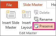 Preserve option on the Slider Master tab