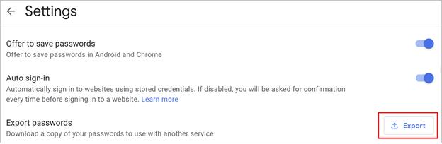 Desktop Chrome browser export passwords command location