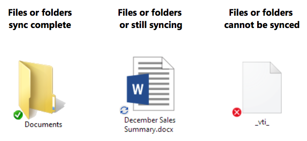 Sync icon overlays are missing from OneDrive and OneDrive for