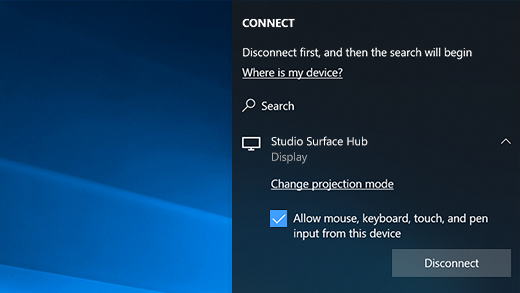 Shows the checkbox when you are connecting to a Surface Hub via MiraCast that asks you to allow Mouse, pen, ink, and touch input on your device as checked.