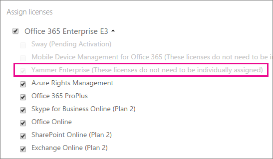 Screenshot of the Assign licenses section of Office 365 admin center, with Yammer Enterprise license selected.
