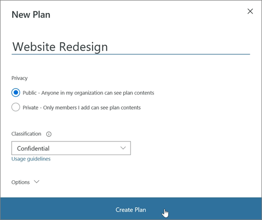 Screenshot of the New Plan window in Planner.
