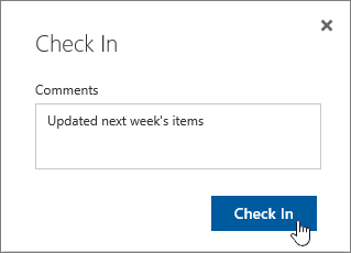 Check in dialog box with comment inserted, and check in button highlighted
