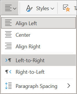 Paragraph alignment menu options in OneNote Online.