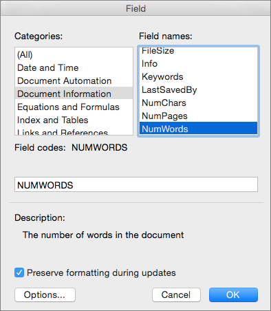 Field dialog box with Document Information and NumWords selected.
