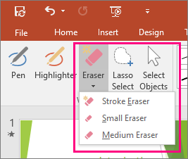Shows Eraser button in Ink Tools in Office