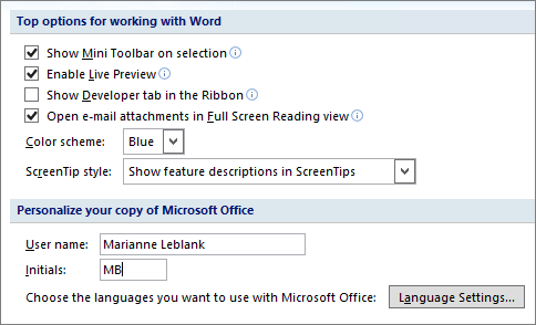 Word 2007 Popular Options
