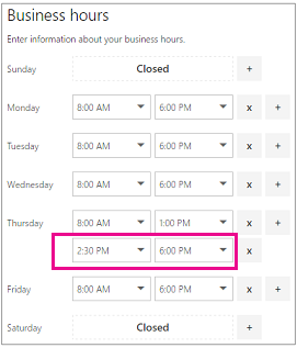 Business hours page with newly added second row of time slots