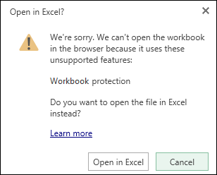 Dialog box when you open a password-protected workbook in Excel for the web