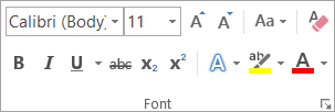 Text formatting options in the Font group