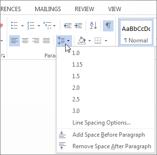 Screenshot of the Home tab in Word, showing the Line and Paragraph Spacing menu.
