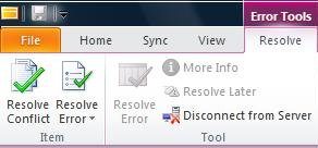Resolve Conflicts tab