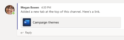 Post about a tab in a channel