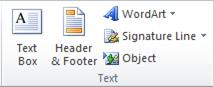 The Text group on the Insert tab in the Excel 2010 ribbon.