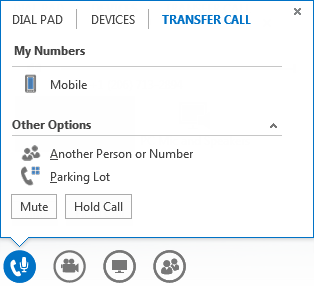Screen shot of transfer a call menu