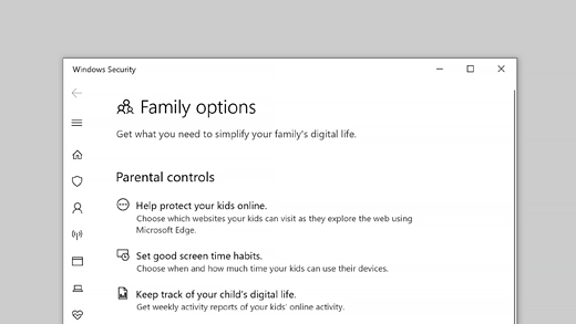 Family options in Windows Security