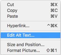 Outlook for Mac Edit Alt Text Context Menu