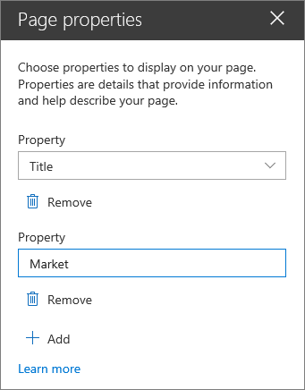 Page properties web part pane