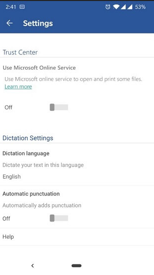 Screenshot of Dictation on Android Phone settings.