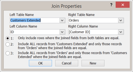 Screenshot of Join Properties highlighting left table name