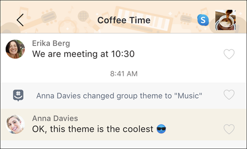 GroupMe screenshot with the Music theme turned on