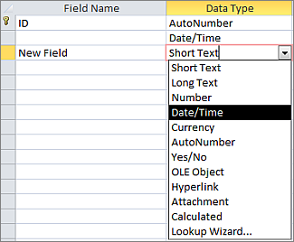 Adding a Date/Time field in Design view