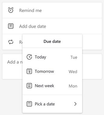 Screenshot showing the due date menu