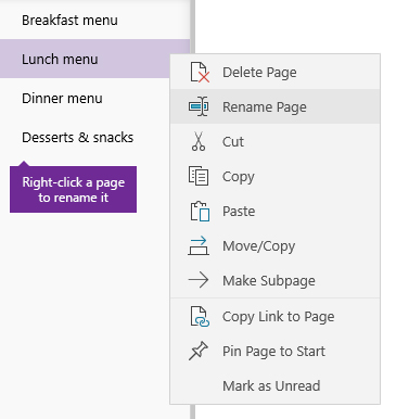 Screenshot of a page being renamed in OneNote