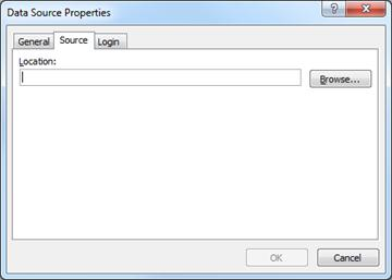 Location box on Source tab in Data Source Properties dialog box