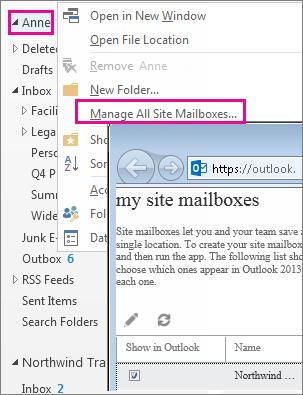 Manage site mailbox