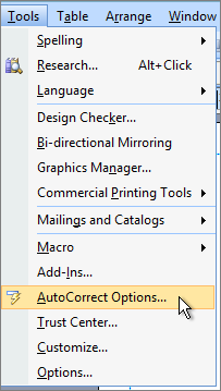 Accessing the AutoCorrect dialog box