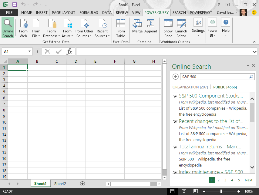 Online Search in Power Query