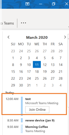 Calendar To Do task bar showing Join Online button.